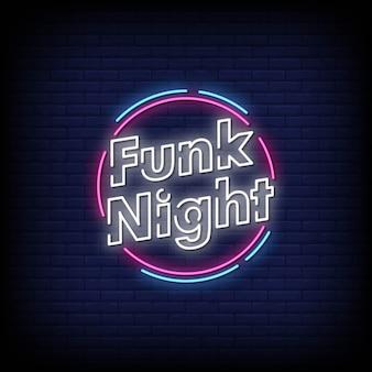 Funk night neon sign stile di testo