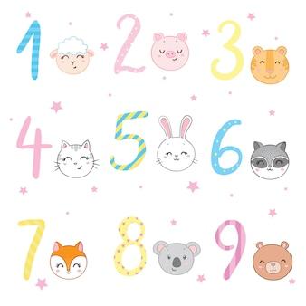 Animali funky in piedi accanto al set di adesivi di cifre. illustrazioni stilizzate di vettore piatto colorato per bambini su sfondo bianco,
