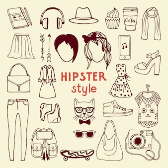 Elementi di stile hipster funky della femmina. diversi accessori alla moda