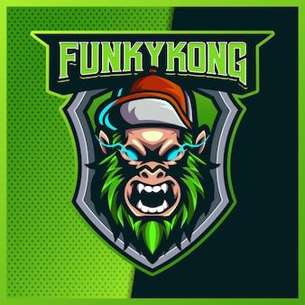 Funky kingkong con cappello esport e logo mascotte sportivo con illustrazione moderna. illustrazione della scimmia