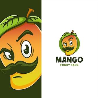 Modello di logo del viso di baffi di mango funky Vettore Premium