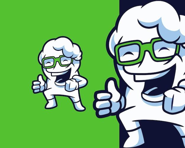 Personaggio mascotte nuvola sorridente funky nerd