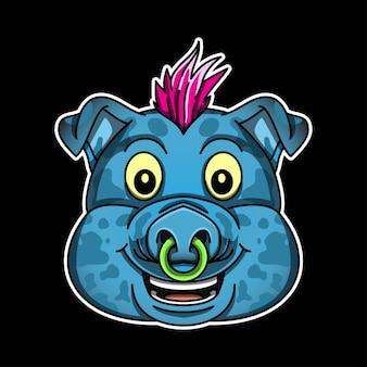 Illustrazione della testa di maiale funky