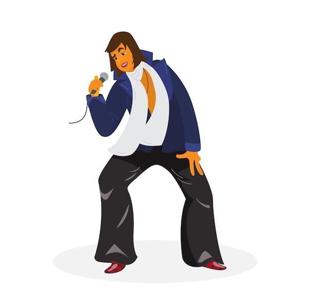 Illustrazione di vettore del fumetto di disegno di carattere cantante funky. vocalist in pantaloni di pelle, giacca, sciarpa bianca e scarpe lucide con microfono. isolato su bianco.