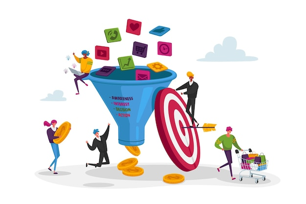 Marketing a imbuto. piccoli personaggi mettono soldi in un enorme imbuto di vendita