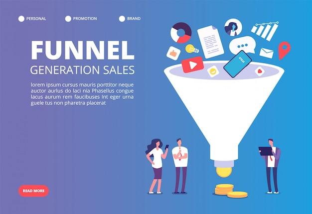 Generazione di vendita a imbuto. l'imbuto del marketing digitale guida le generazioni con gli acquirenti.