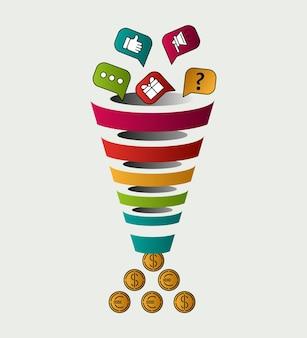Concetto di vendita di imbuto. infografica brillante, conversione delle vendite.