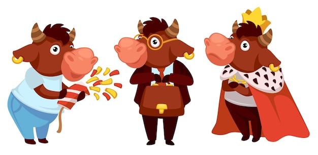 Divertente personaggio animale che indossa il costume da re. bue che lavora come avvocato o uomo d'affari. toro che celebra il nuovo anno 2021 o natale. vacanze invernali e occasioni felici e divertenti. vettore in stile piatto