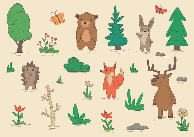 Divertenti personaggi animali in piedi tra alberi e cespugli. serie di illustrazioni. su sfondo beige.