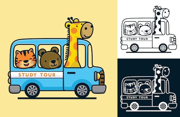 Animali divertenti sull'autobus. illustrazione del fumetto di vettore nello stile dell'icona piana