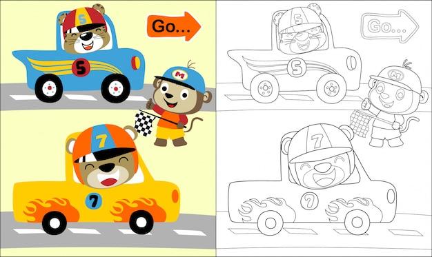 Fumetto divertente degli animali nella pista di corsa dell'automobile