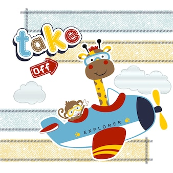 Fumetto divertente degli animali sul piccolo aeroplano