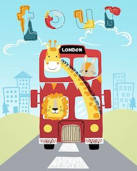 Fumetto divertente degli animali sul bus rosso