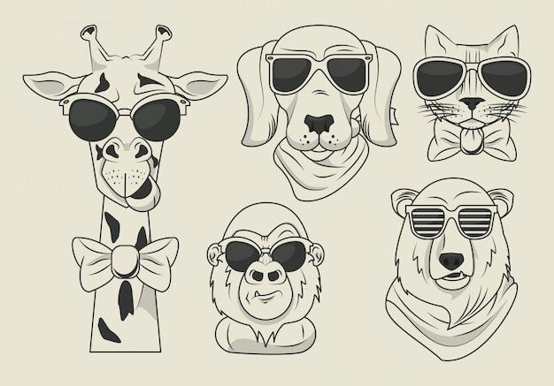 Animali divertenti con occhiali da sole in stile cool
