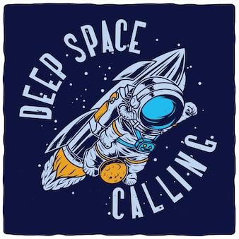 Astronauta divertente che vola sul razzo