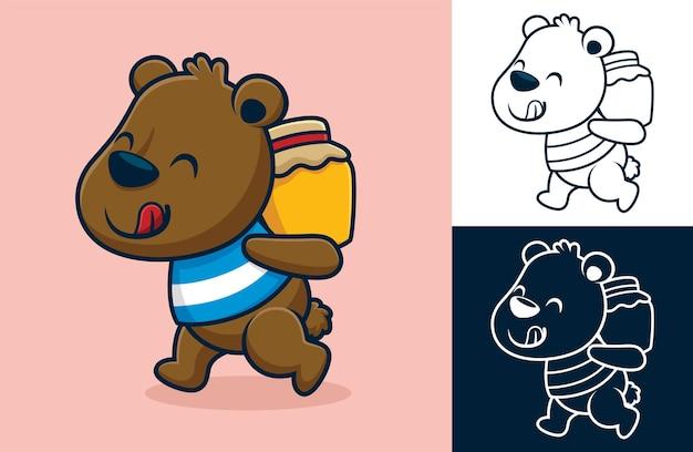 Orso divertente che porta un barattolo di miele sulla schiena. illustrazione di cartone animato in stile icona piatta