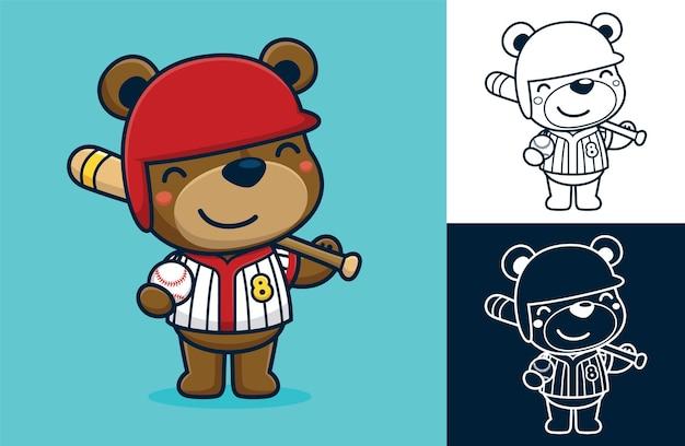 Orso divertente che indossa l'uniforme da baseball mentre tiene in mano una mazza da baseball e una palla. illustrazione di cartone animato in stile icona piatta