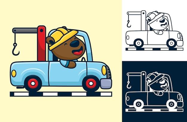 Orso divertente che indossa il casco dell'operaio sul carro attrezzi. illustrazione di cartone animato in stile piatto