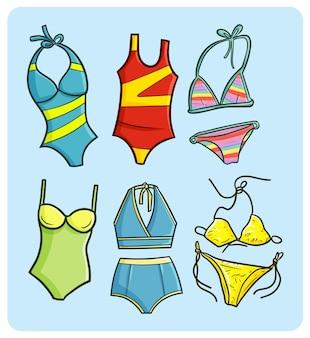 Divertente collezione di bikini e costumi da bagno in stile doodle
