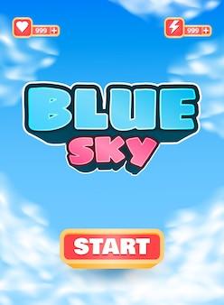 Divertente interfaccia di bordo verticale dell'interfaccia utente del gioco del cielo blu