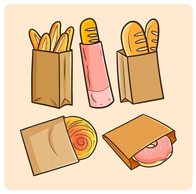 Pane o pasticceria divertente in imballaggi di carta in semplice stile doodle