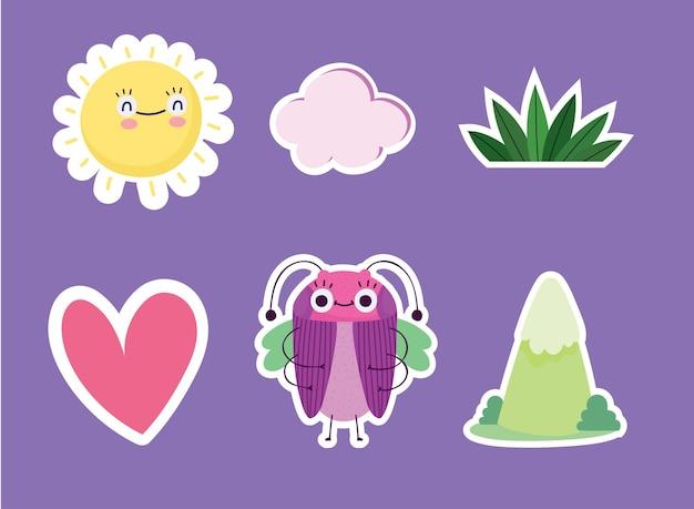 Illustrazione divertente delle icone del fumetto della montagna dell'erba del sole del cuore animale dell'insetto
