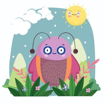 Insetto divertente con l'illustrazione del fumetto del cielo delle montagne animali delle ali rosa