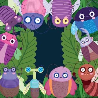 Insetti divertenti animali fogliame foglia illustrazione botanica del fumetto