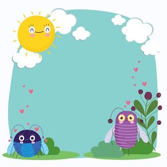 Progettazione floreale del modello dell'insegna dell'illustrazione del fumetto dei cuori degli animali divertenti degli insetti