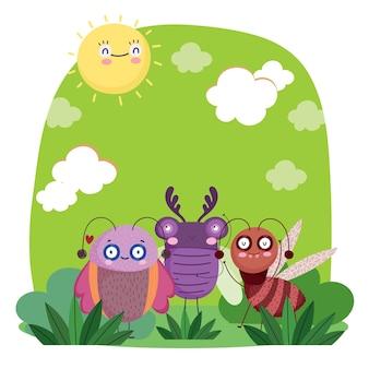 Animali divertenti insetti insieme erba natura fumetto illustrazione