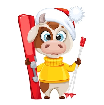Toro divertente con gli sci. simpatico personaggio dei cartoni animati di toro