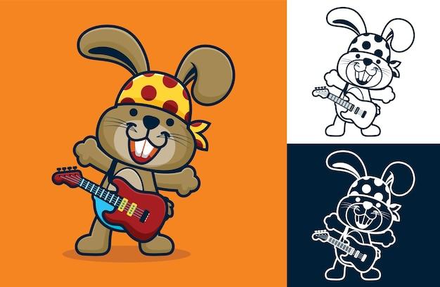 Coniglietto divertente che indossa bandana mentre suona la chitarra. illustrazione di cartone animato in stile icona piatta