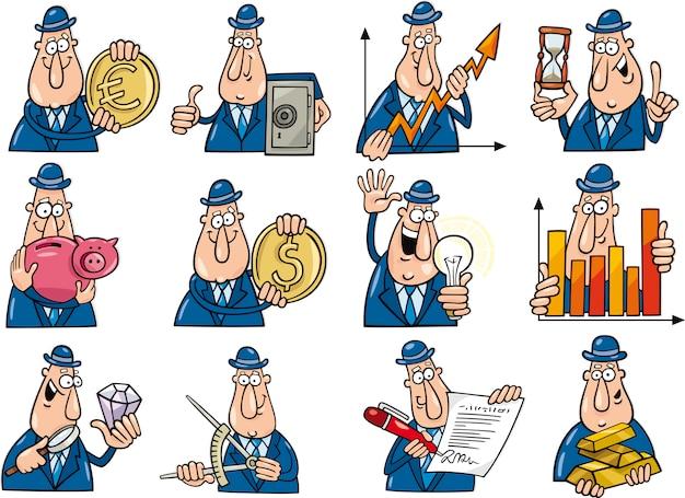 Set di uomini d'affari divertenti Vettore Premium