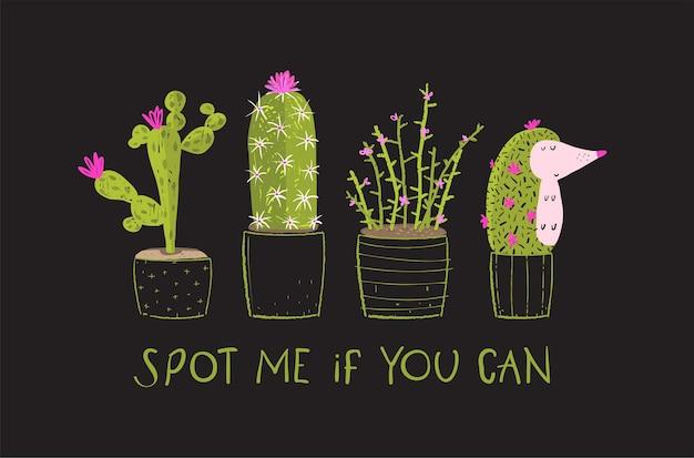 Divertente t-shirt con cactus stampata in stile acquerello disegnato a mano, stampa umoristica alla moda con design di cactus e animali per t-shirt e abbigliamento in tessuto nero