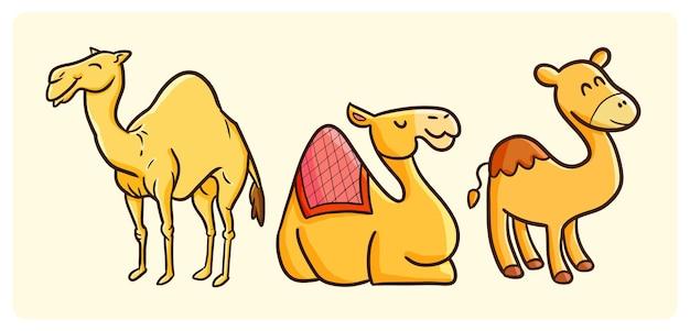 Divertente collezione di cammelli in stile doodle kawaii