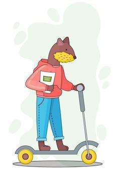 Illustrazione di studente animale divertente del fumetto