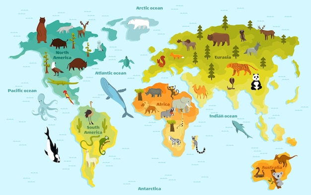 Mappa del mondo animale divertente del fumetto per i bambini con i continenti, gli oceani e molti animali divertenti