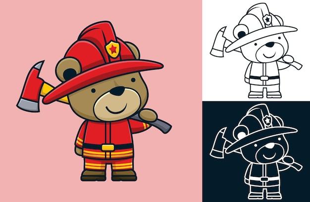 Divertente cartone animato di un orso che indossa l'uniforme da pompiere mentre tiene in mano un'ascia da pompiere
