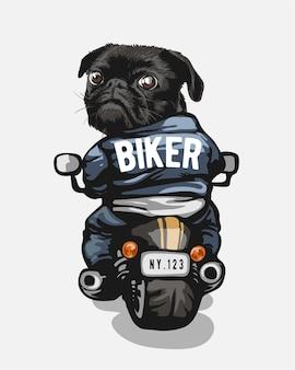 Divertente cartone animato cane nero in sella a moto illustrazione dog