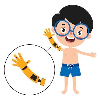 Divertente personaggio dei cartoni animati utilizzando la protesi