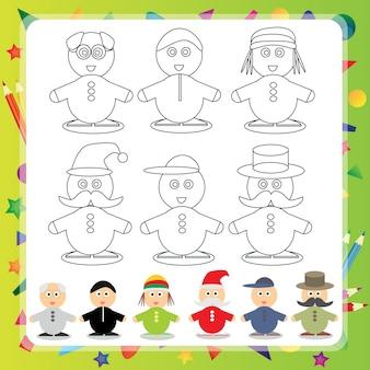 Personaggio dei cartoni animati divertenti - illustrazione vettoriale libro da colorare - set