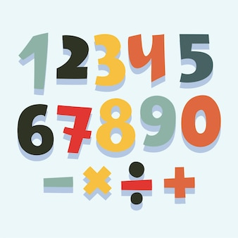 Divertente cartone animato colorato insieme di numeri