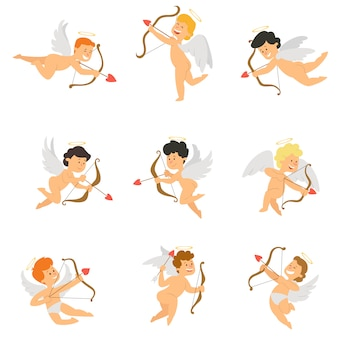 Cupido cartone animato divertente con arco e freccia.