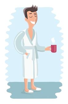 Illustrazione divertente del fumetto dell'uomo che indossa accappatoio. dopo il bagno o la doccia si rilassa