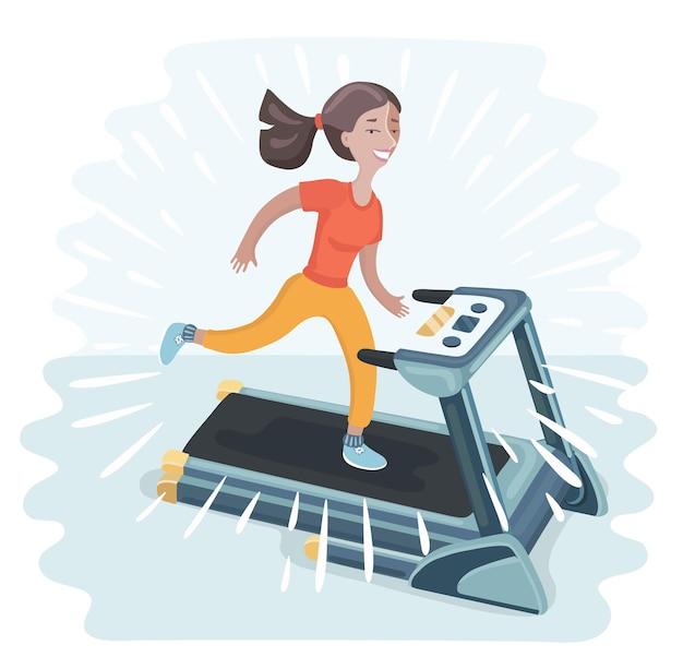 Illustrazione divertente del fumetto della donna che corre sul tapis roulant