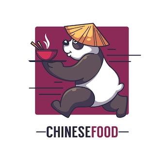 Il panda divertente del fumetto prende una ciotola piena di cibo asiatico