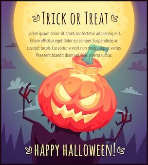 Spaventapasseri divertente della zucca del fumetto sul fondo del cielo della luna piena manifesto di halloween felice illustrazione della cartolina d'auguri di scherzetto o dolcetto