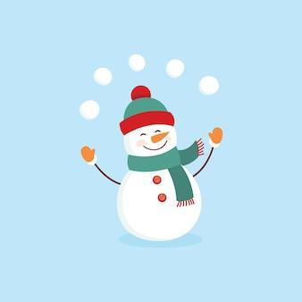 Disegno dell'illustrazione del pupazzo di neve divertente del fumetto su una priorità bassa blu.