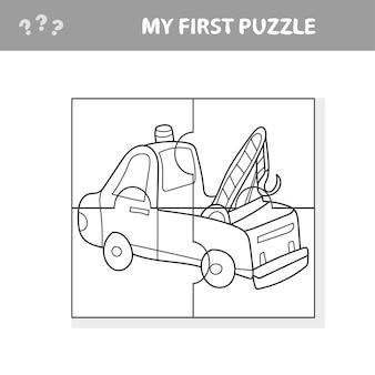 Camion divertente del fumetto. gioco educativo per bambini - il mio primo gioco di puzzle e libro da colorare