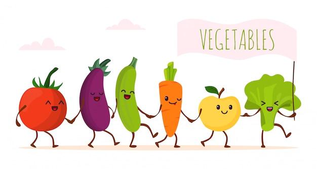 Camminata di verdure del fumetto divertente, illustrazione. carattere felice cibo sano, simpatico prodotto biologico verde. vegetariano fresco